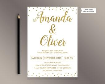 Wedding Invitation Set, Gold Wedding Invitations, Gold confetti Wedding invite, White and gold glitter wedding invites, Digital Printable