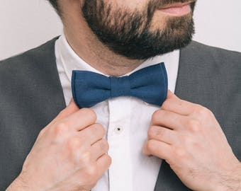 Bowtie for men Royal Blue Linen bow tie Wedding bow tie Mens Bow tie Gift for him Wedding outfit Wedding attire Boys bow tie Navy Blue