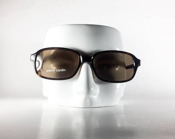 PIERRE CARDIN Vintage Sunglasses Unisex TORTOISE Plastic Square 2000 PIES91Q-1