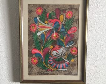 Vintage Otomi Bird Painting • Mexican Amate Wood Paper • Mexican Folk Art