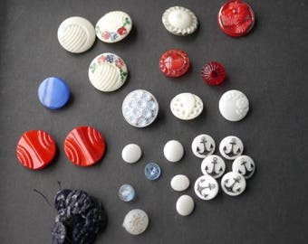 Large mixed lot vintage white and coloured glass buttons