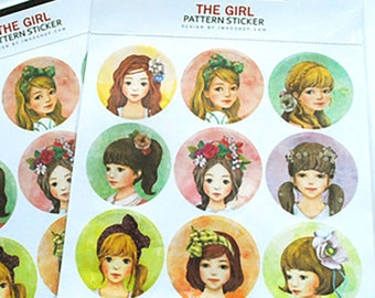 "Stickers 2 sheets 18 piece set ""The girls"""