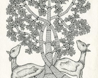 Lamb tree, Gond Artwork, Original Acrylic.