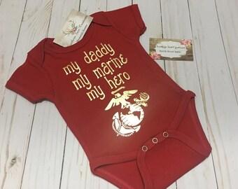 Marine Baby Onesie My Daddy My Marine My Hero Onesie or Tshirt Military baby
