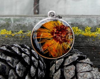 Real Calendula Plant Resin Necklace, Double Sided Botanical Pendant, Mothers Gift, Terrarium Jewelry, Real Flower Woodland  Eco Resin