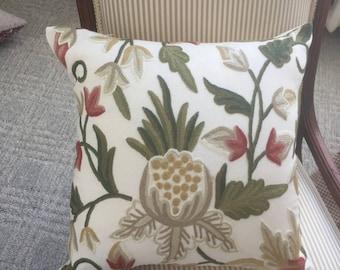 Handmade  Crewel Work Pillow Cover