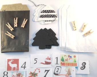 DIY Kit calendar Advent Christmas black and white