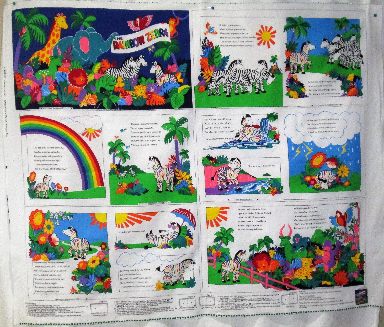 Rainbow Book Cover Material : The rainbow zebra diy cotton cloth book fabric panel