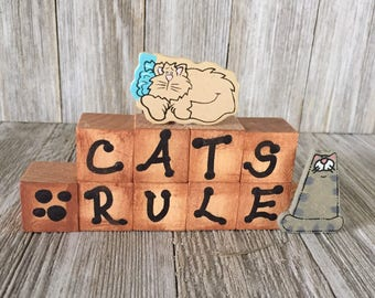 Cats or Dogs Rule Wood Block Saying