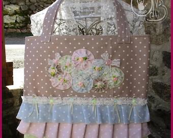tote bag - Tote all cotton/lace romantic