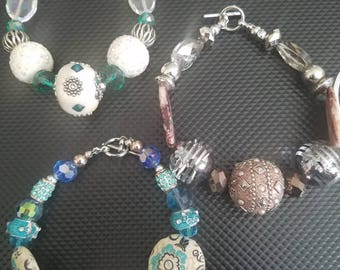 Set of Three Chuncky Beaded Bracelets
