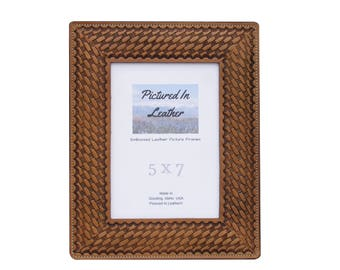5x7 Picture Frame, 5x7 Leather Photo Frame, Anniversary Picture Frame,  Anniversary Gifts For
