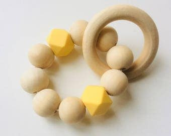 Biting ring rattle with hexagoon and wood baby toys