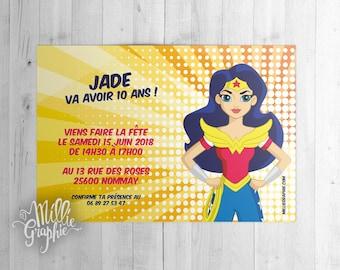 Wonder Woman, invitation, card, invitation, birthday