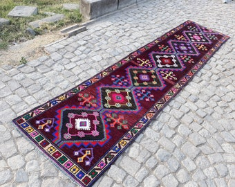 Turkish Rug Oushak Rug Runner Rug Purple Rug Kitchen Rug Hallway Rug Boho  Tribal Rug Unique
