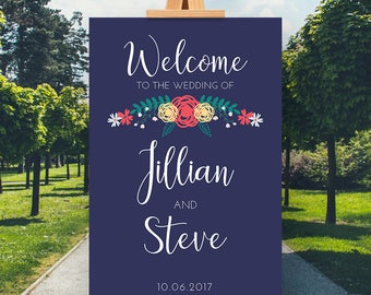 Navy Blue Floral Welcome Sign, CUSTOM Printable Wedding Welcome Sign, Welcome Wedding Printable, Wedding Sign, Wedding Poster Board