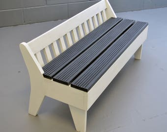 Upcycled - Garden Bench - Children's Bench - Reclaimed Wooden Bench - Dark Grey and White