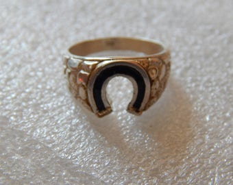 Horseshoe  Ring 925 silver  with gold enamel and black( size 8 )