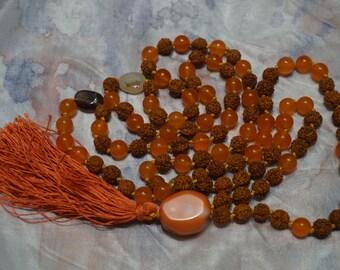 Rudraksha,Orange Topaz,Botzwana Agate,108 bead Mala,Coral Gurubead