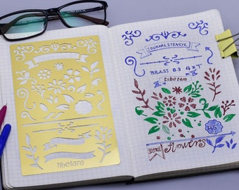 "Pro Bullet Stencil for Bullet Journal, Fit A5 Notebook,Stencil Bullet Journal Stencil ,tibetara®, 4*7"",1 each/lot-10196250"