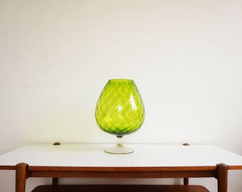 Large green vase - glass Italian Empoli vintage 1950