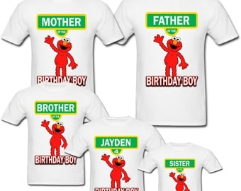 Personalized Sesame Street Elmo Birthday shirt for Family