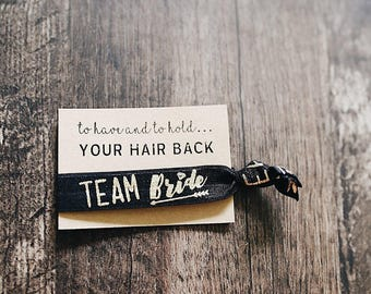 To have and to hold YOUR HAIR BACK | 1 Pack| Gold Foil| Bridesmaid Proposal | Elastic Hair Tie | Tie the Knot | Bridesmaid Gift | Team Bride