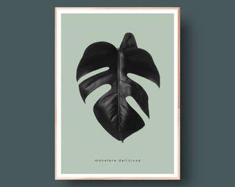 Monstera Leaf Print, Black and Green, Botanical Art, Monstera Plant, Monstera Leaf Art, Scandinavian and Danish Art Print