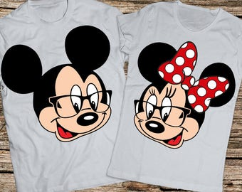 Disney shirts, Disney Couple Shirts, Matching Couple Disney Shirts, Her Minnie and His Mickey couple shirts, Disney glasses shirt, Disney