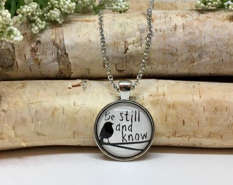 Be Still and Know Necklace - Bible Verse Charm - Christian Jewelry - Bird on a Wire - Christian Necklace - Bible Scripture Necklace