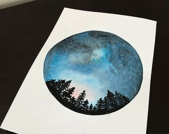 Starry Night Original Watercolor Painting   tree silhouette   Milky Way   circle   wall art
