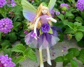 "Fae Folk® Fairies - APRIL - Flower Fairy. Bendable, posable 5"" soft doll can sit, stand, or hang."