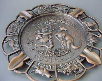 Vintage Australian Copper home decor,wall decor,relief,plate, Australian animals,platypus, kangaroo, emu, koala