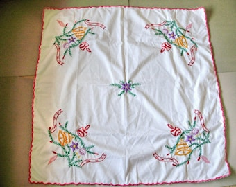 Unused,Vintage  Christmas tablecloth,doily 32x32""
