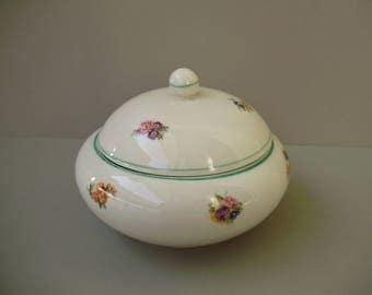 Vintage Hungarian Hollohaza porcelain sugar bowl w.flower pattern,stamped