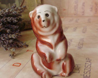 Vintage porcelain animal  figurine,bear ,handpainted stamped