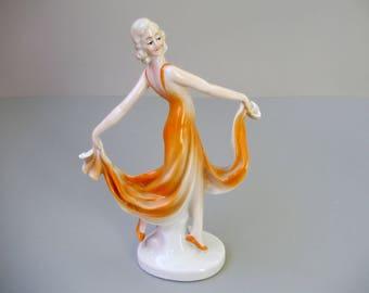 Vintage ,German porcelain lady figurine,dancing girl,ballerina,hand painted