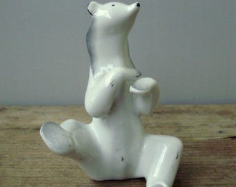 Vintage HUNGARIAN Drasche porcelain animal  figurine,polar bear,ice bear ,handpainted stamped
