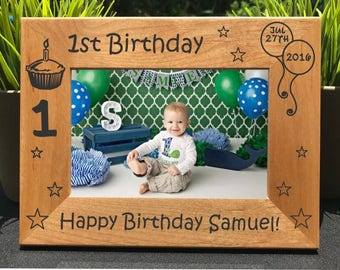 First Birthday // Personalized Engraved Photo Frame // Picture Frame // Baby's First Birthday Gift