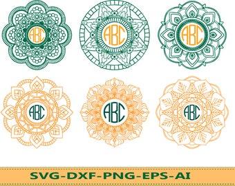 60 % OFF, Mandala Circle Monogram svg, Mandala svg, Mandala Monogram Frame in svg, png, eps, dxf, Mandala Monogram Flower, Mandala Clip Art