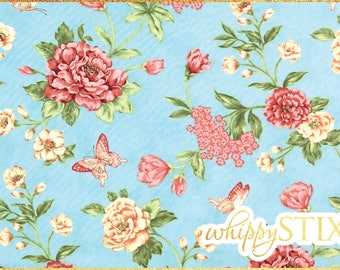 LAST ONE! 1 Yard Floral Fabric, Nature's Chorus by April Cornell for Moda Fabrics 35102, Blue Flowers and Butterflies Cotton Quilting Fabric