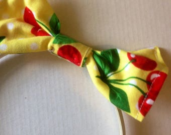 Retro cherries yellow Dolly Bow Hairband