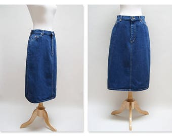 Vintage Lee Skirt ⎮ Vintage Denim Midi Skirt ⎮ Boho Dark Blue Jean Skirt