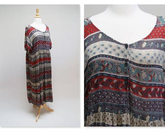 Vintage India Cotton Festival Dress ⎮ Vintage 70s Long Cotton Gauze Dress ⎮ Hippie Boho Gypsy Dress