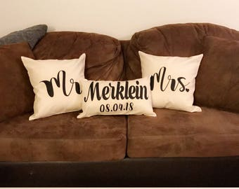 Mr. and Mrs. Pillow Set | Wedding Gift | Anniversary Gift | Custom Monogrammed Pillow