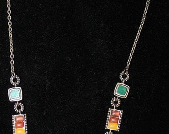 Beautiful, Vintage Multi-Color Stone Necklace 16 Inch !
