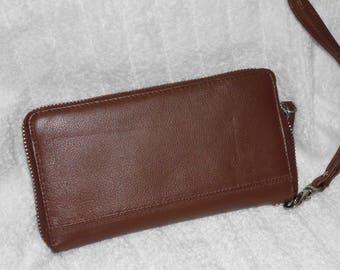Leather Clutch Purse Wallet  -  Removable Wrist Strap & Zip Close - LAST One