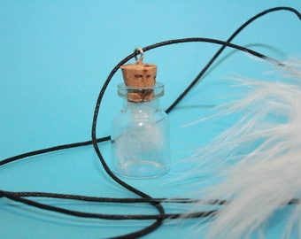 Small bottle with white feathers-glass bottle with Cork-925-desire bottle