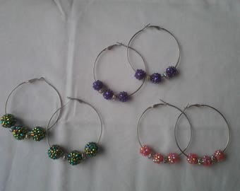 Hoop earrings with black acrylic balls, pink or purple