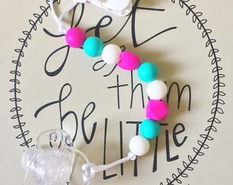 Silicone Teething Pacifier Clip, Chew Jewelry, Bite Beads
